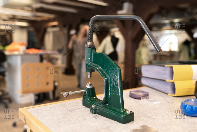 Clamp in a clothing design studio