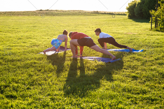 Three people practicing yoga in a grassy meadow