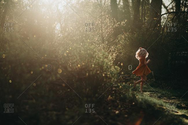 Girl walking in sun dappled forest