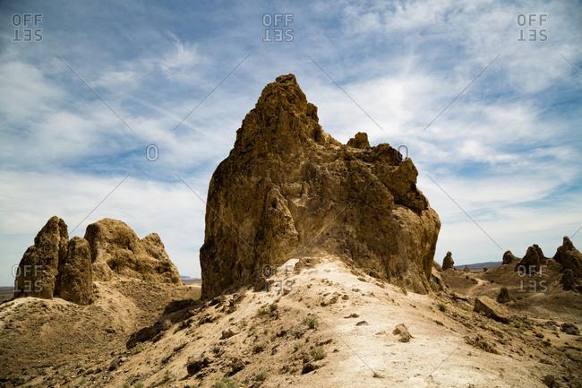 Rock formations in desert landscape