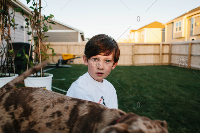 Boy sitting in suburban summer yard
