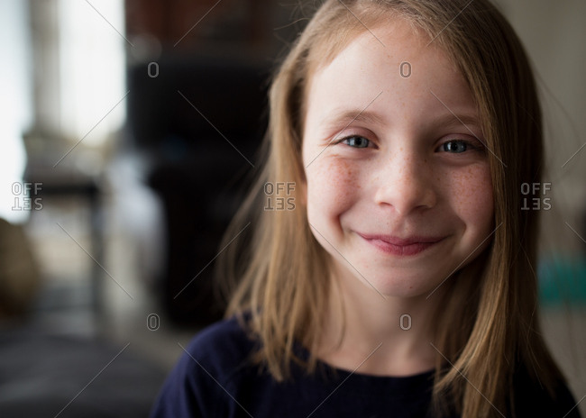 Little girl smiling with new haircut