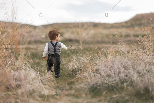 Boy in suspenders walking in field