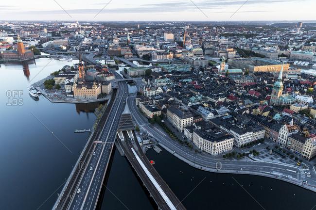 Stockholm, Sweden - October 3, 2015: Aerial view of old town