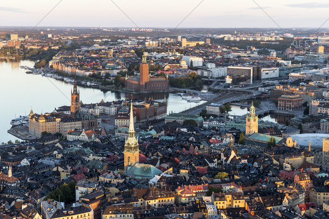 Stockholm, Sweden - October 3, 2015: Aerial view of old town