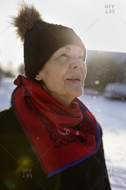 Portrait of senior woman in winter