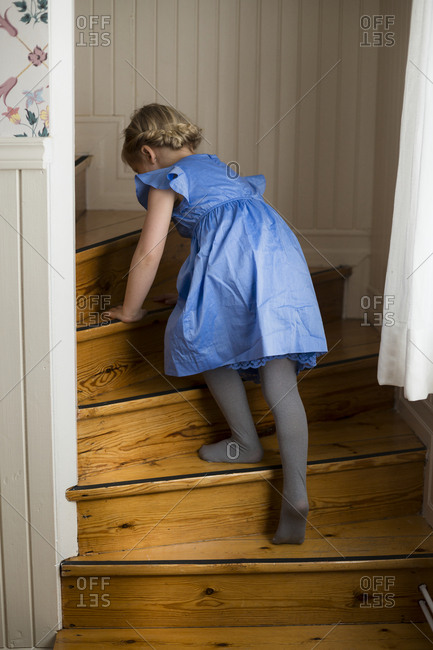 Girl walking up stairs