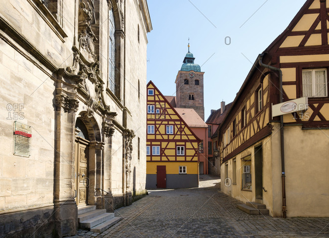 Spalt, Germany - April 24, 2017: Old town with Church of St Emmeram