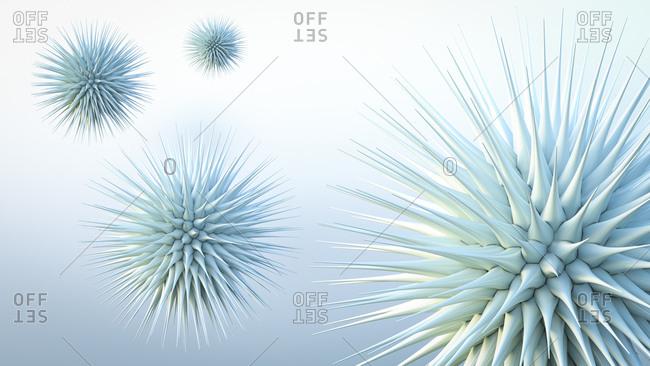Floating spiky spheres- 3d rendering