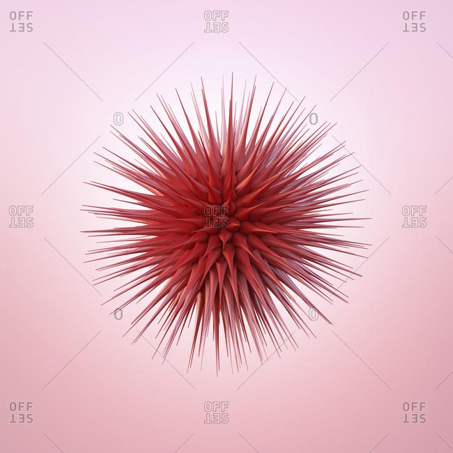 Red spiky sphere- 3d rendering