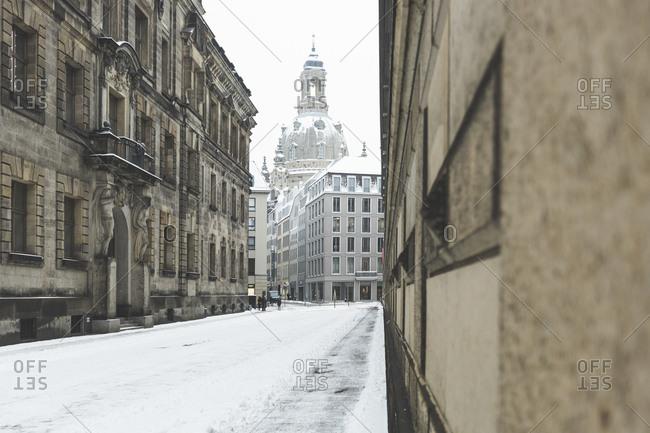 Germany- Dresden- view to Dresden Frauenkirche in winter