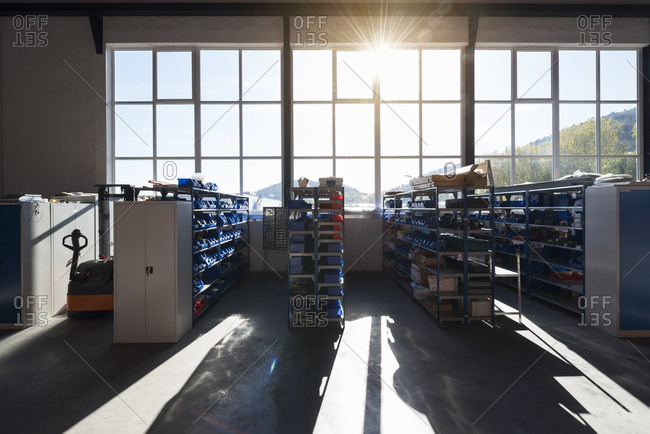 Factory shop floor in backlight