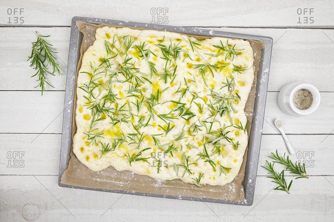 Raw Focaccia on baking tray