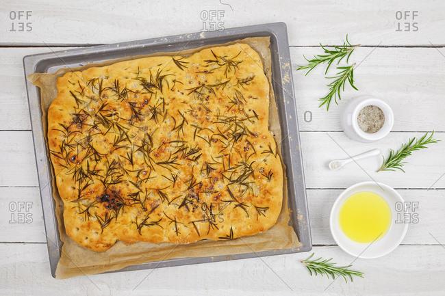 Focaccia on baking tray