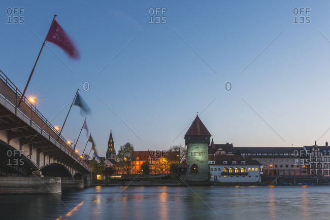 Germany- Constance- view to Rheintor Tower and Minster in the background at twilight