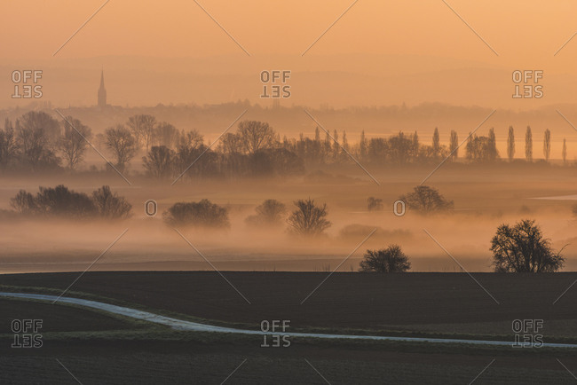 Germany- Constance district- view to Radolfzeller Aach from Galgenberg at sunrise
