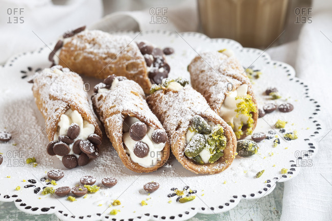 Sicilian Cannoli filled with Ricotta cream