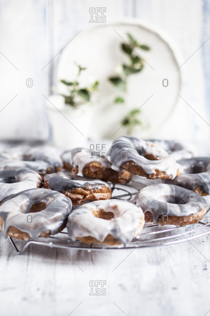 Homemade marble-glazed donuts