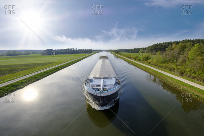 Germany- Central Franconia- Cargo ship on Rhine Main Danube Canal