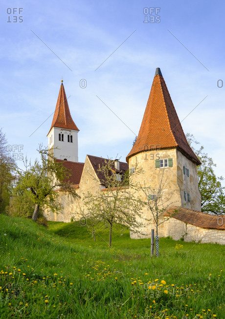 Germany- Central Franconia- Greding- City wall and Church of St Martin
