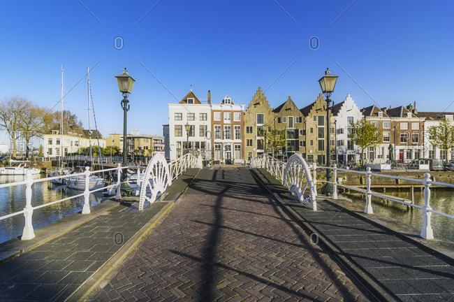 Netherlands- Zeeland- Middelburg- bridge and city harbor