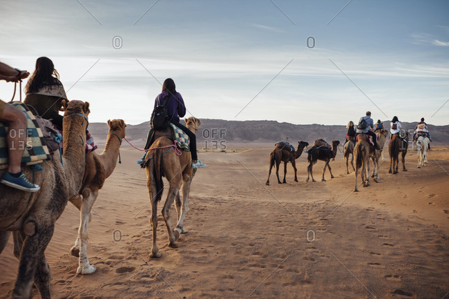 Tourists riding on camels at desert against sky