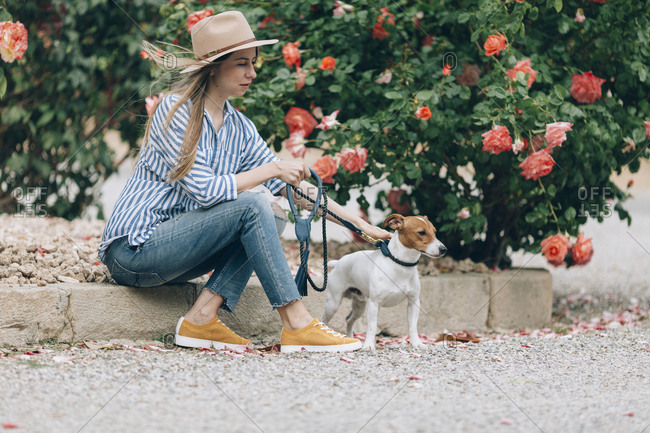 Woman petting Jack Russell Terrier while sitting by plants