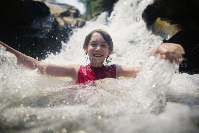 Happy boy enjoying in Bua Thong Waterfalls