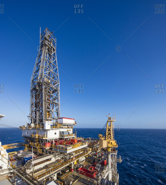 USA, Gulf of Mexico - October 19, 2017: Drill ship in sea against clear blue sky