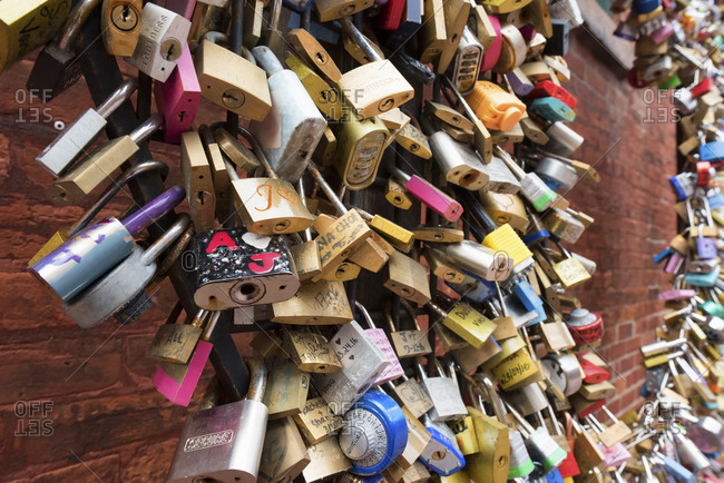 Canada, Toronto - April 29, 2017: Close-up of pad locks against brick wall