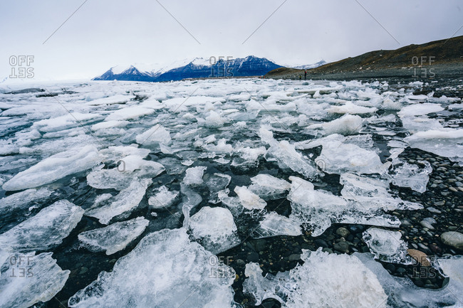 Ice floating in Jokulsarlon lagoon