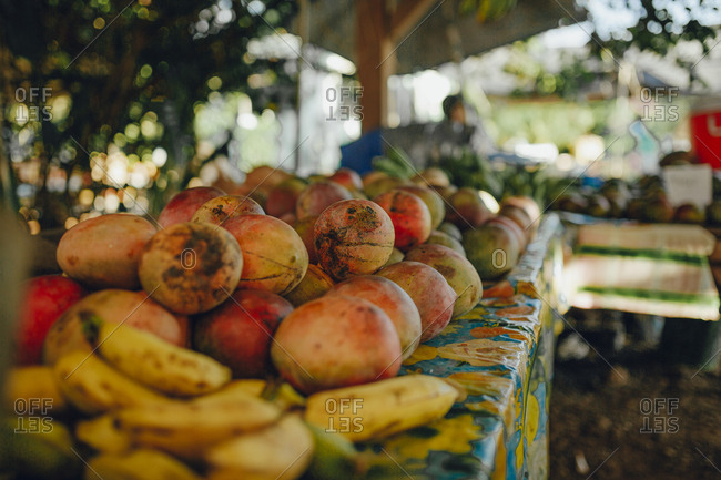 Fruits on table for sale at market stall
