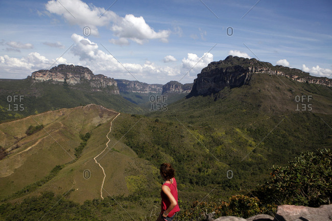 High angle view of woman standing against mountains at Chapada Diamantina National Park