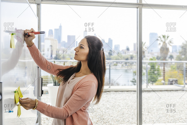 Mid adult businesswoman writing on whiteboard by window in office