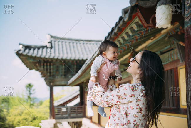 South Korea- Gyeongju- woman traveling with a baby girl in Bulguksa Temple