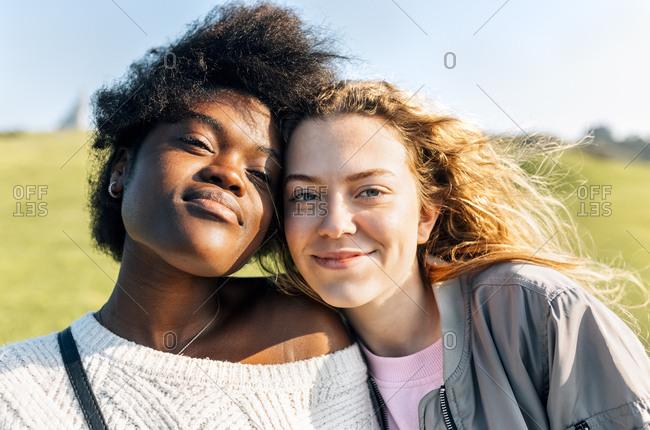 Portrait of two best friends outdoors