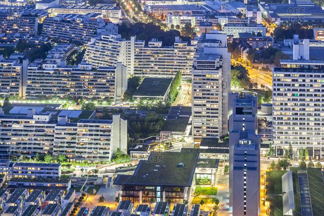 Germany- Bavaria- Munich- cityscape at night- drone