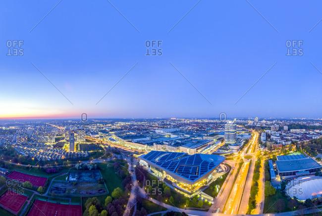 Germany- Bavaria- Munich- cityscape near Olympic Park at night- drone