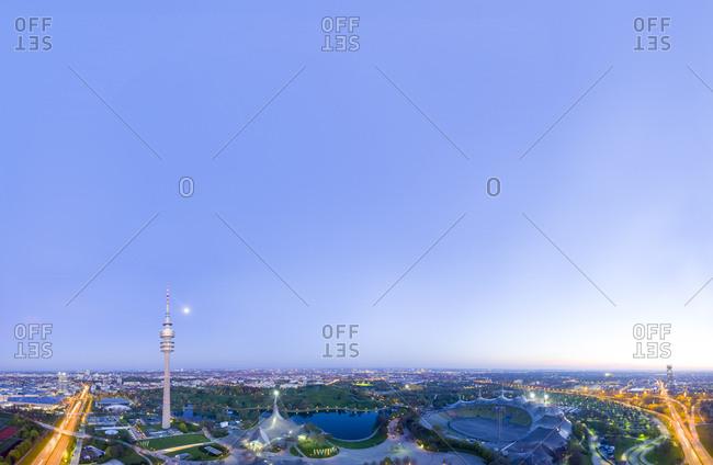 Germany- Bavaria- Munich- Olympic Park at night- drone