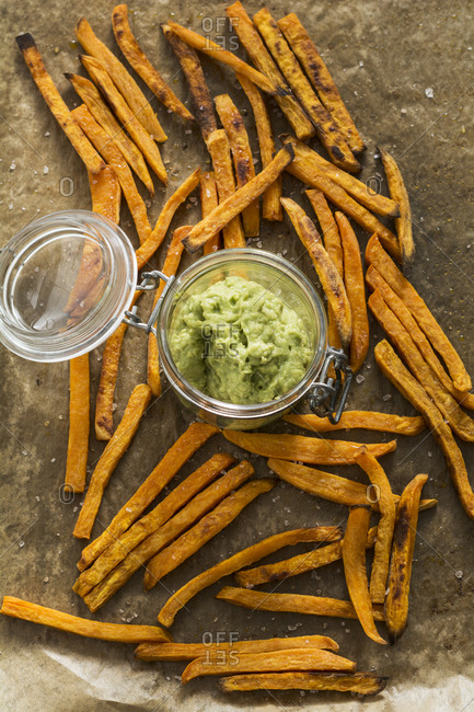 Sweet potato fries and avocado dip