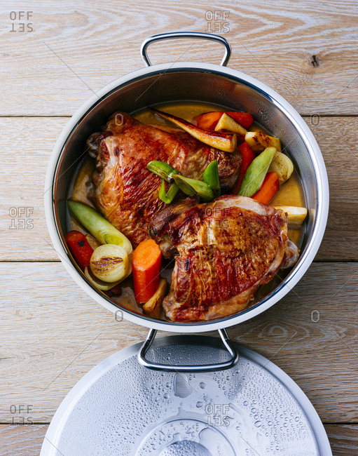Pot of turkey with vegetables