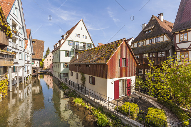 Germany- Ulm- Fischerviertel- historical houses at River Blau