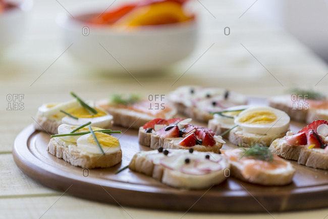 Variety of appetizers on serving plate