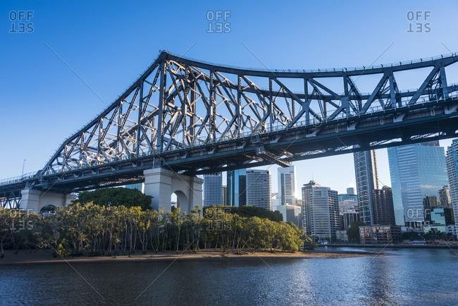 Train iron bridge in Brisbane across Brisbane river