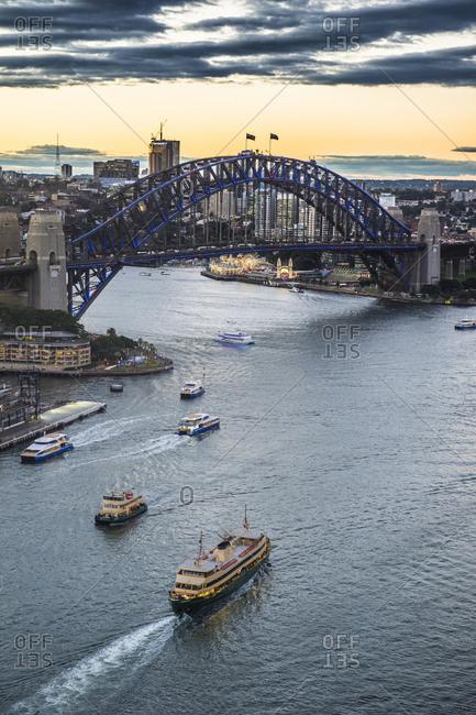 Overlook over Sydney harbor after sunset