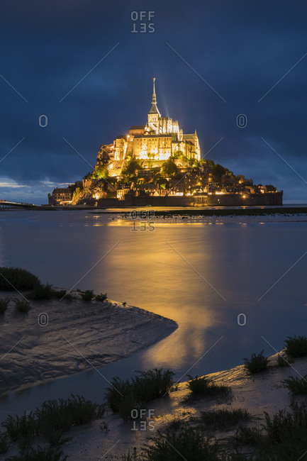 Cloudy sky at dusk Mont-St-Michel, Normandy, France