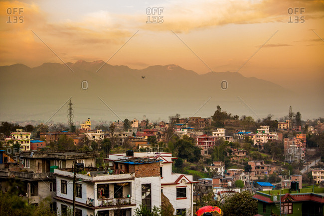 Sunrise over the medieval village of Bhaktapur