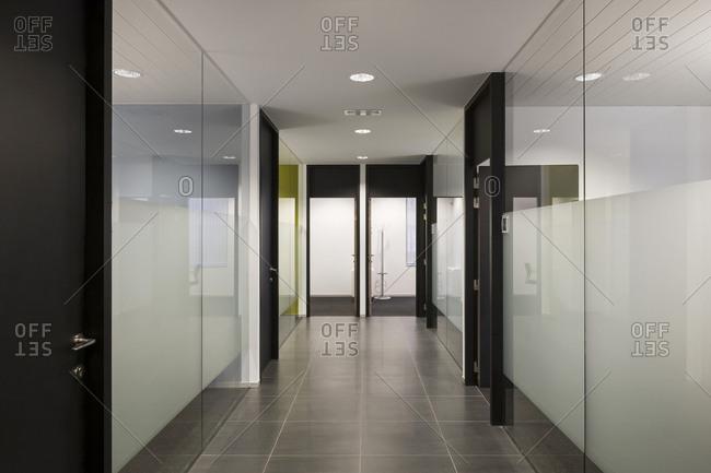 Interior hall of modern office building