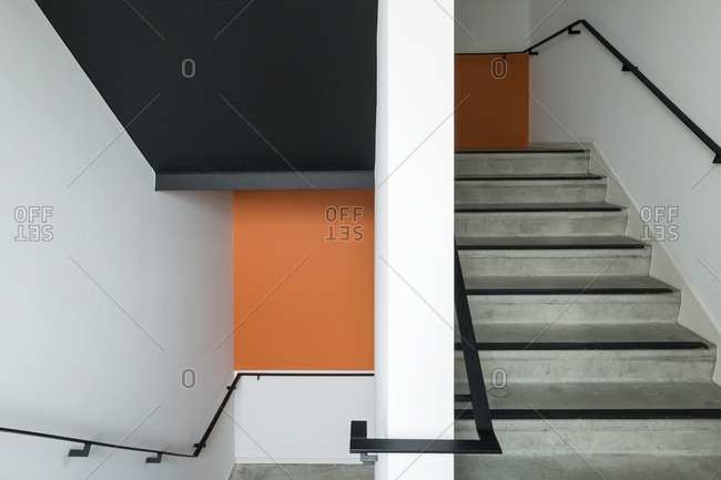 Interior staircase in modern office building