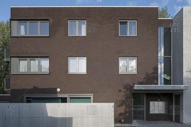 ... Belgium   October 24, 2013: Exterior Of Brick Apartment Building
